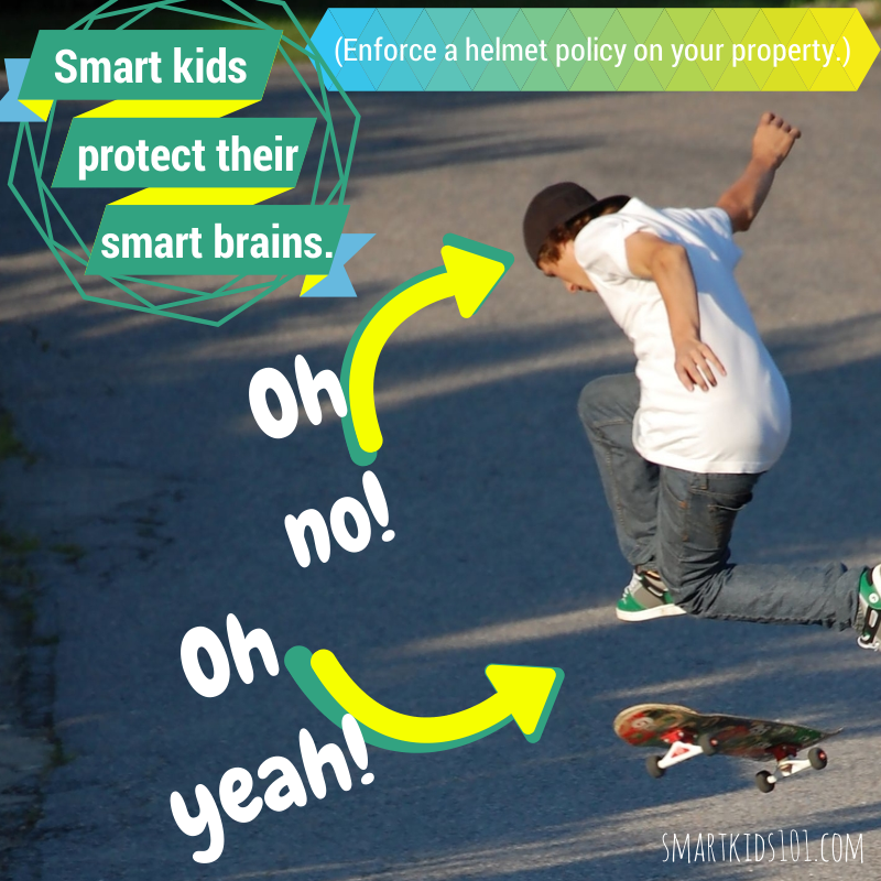 Smart Kids protect their smart brains. Enforce a helmet rule on your property this summer! https://smartkids101.com