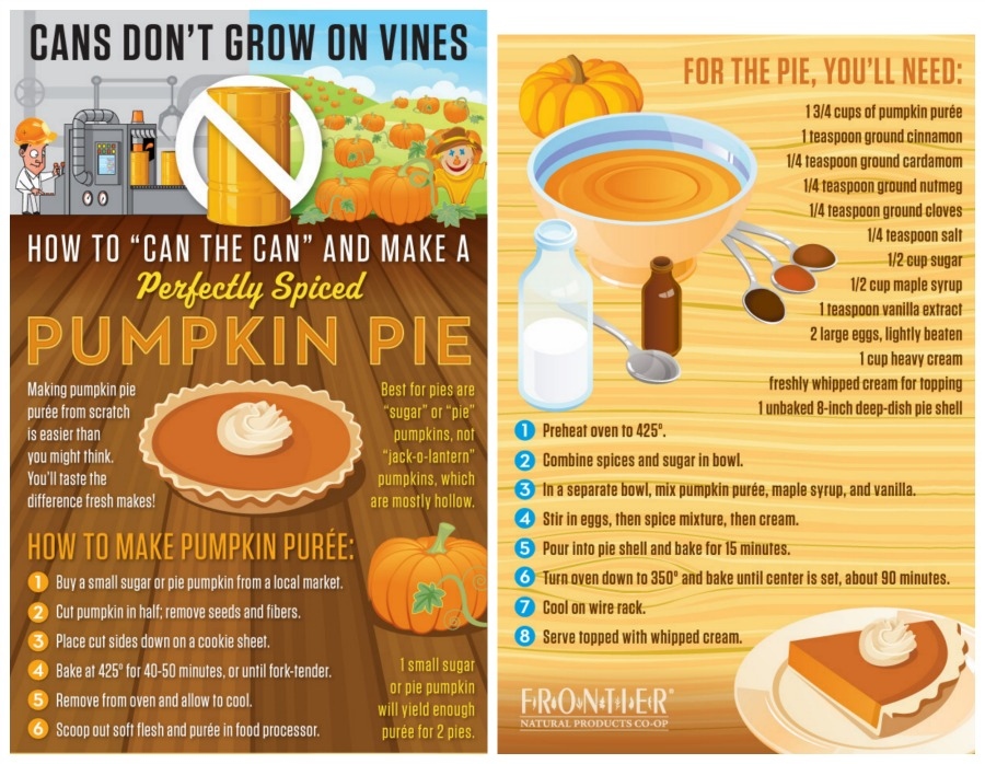 Make a Pumpkin Pie from an actual pumpkin with these instructions from Frontier Co-Op!