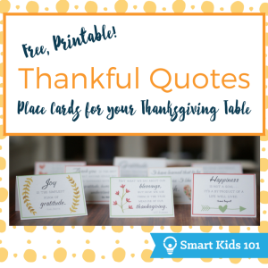 Free Printable Thankful Quotes Place Cards for your Thanksgiving Table!