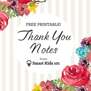 Free, printable thank you notes from Smart Kids 101